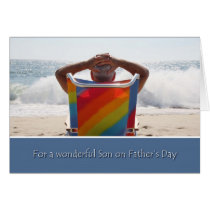 Father's Day, Son, Man on Ocean Beach, Waves Card