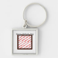 Father's Day Square Brown Photo Frame Silver-Colored Square Keychain