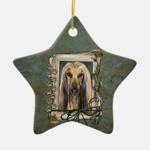 Fathers Day - Stone Paws - Afghan Double-Sided Star Ceramic Christmas Ornament