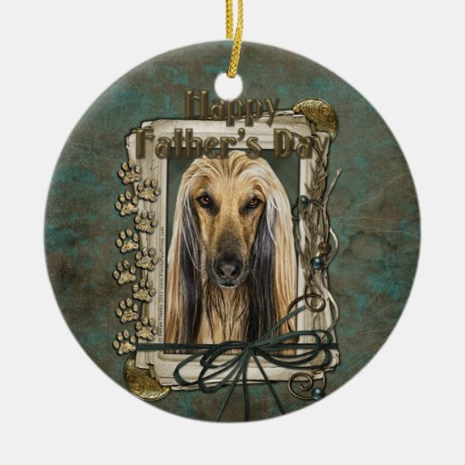 Fathers Day - Stone Paws - Afghan Double-Sided Ceramic Round Christmas Ornament