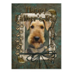 Fathers Day - Stone Paws - Airedale Post Card