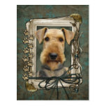 Fathers Day - Stone Paws - Airedale Postcard