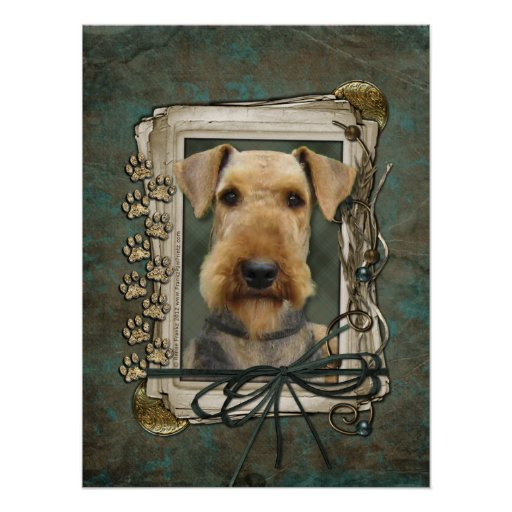 Fathers Day - Stone Paws - Airedale Poster