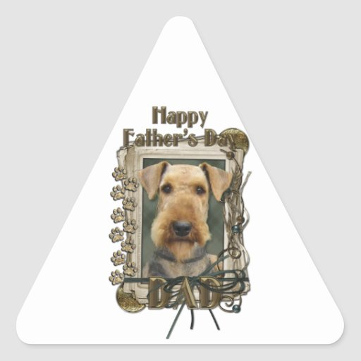 Fathers Day - Stone Paws - Airedale Triangle Stickers