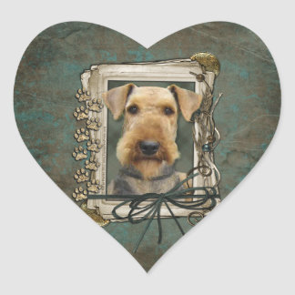 Fathers Day - Stone Paws - Airedale Heart Sticker