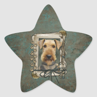 Fathers Day - Stone Paws - Airedale Sticker