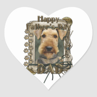 Fathers Day - Stone Paws - Airedale Heart Stickers