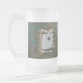 Fathers Day - Stone Paws - American Eskimo Frosted Glass Beer Mug
