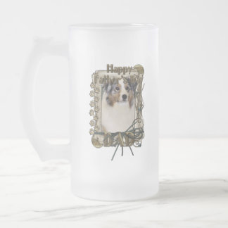 Fathers Day - Stone Paws - Australian Shepherd Dad Frosted Glass Beer Mug