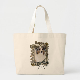 Fathers Day - Stone Paws - Australian Shepherd Large Tote Bag