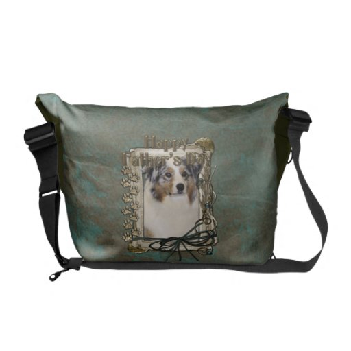 Fathers Day - Stone Paws - Australian Shepherd Messenger Bags