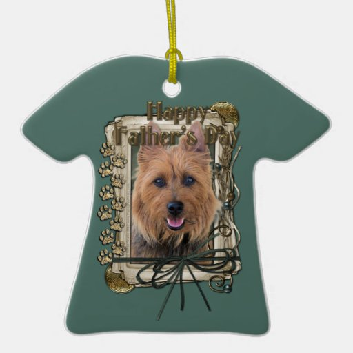 Fathers Day - Stone Paws - Australian Terrier Double-Sided T-Shirt Ceramic Christmas Ornament