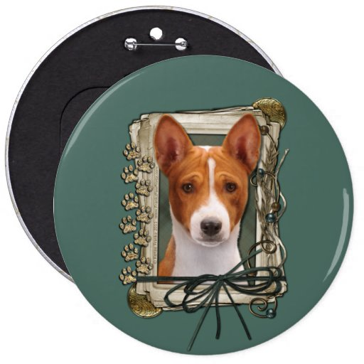 Fathers Day - Stone Paws - Basenji 6 Inch Round Button