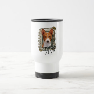 Fathers Day - Stone Paws - Basenji 15 Oz Stainless Steel Travel Mug