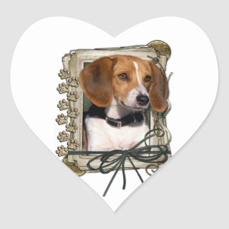 Fathers Day - Stone Paws - Beagle Heart Sticker