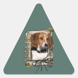 Fathers Day - Stone Paws - Beagle Triangle Sticker
