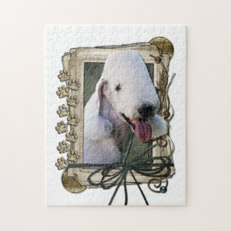 Fathers Day - Stone Paws - Bedlington Terrier Jigsaw Puzzle