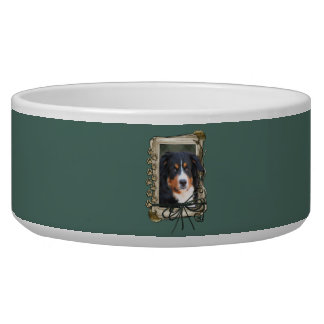 Fathers Day - Stone Paws - Bernese Mountain Dog Bowl