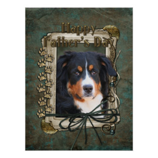 Fathers Day - Stone Paws - Bernese Mountain Dog Poster