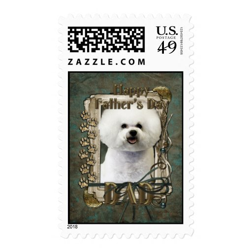 Fathers Day - Stone Paws - Bichon Frise - Dad Postage Stamp