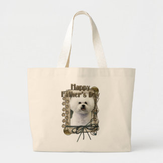 Fathers Day - Stone Paws - Bichon Frise Large Tote Bag