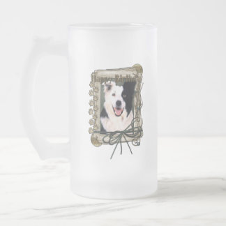 Fathers Day - Stone Paws - Border Collie Frosted Glass Beer Mug