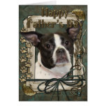 Fathers Day - Stone Paws - Boston and Rat Terrier Greeting Card
