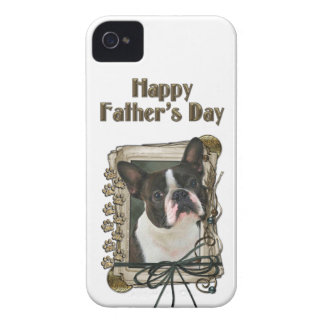 Fathers Day - Stone Paws - Boston Terrier iPhone 4 Covers
