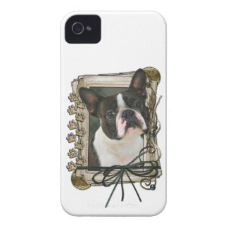 Fathers Day - Stone Paws - Boston Terrier iPhone 4 Cases