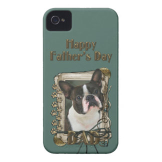 Fathers Day - Stone Paws - Boston Terrier iPhone 4 Case