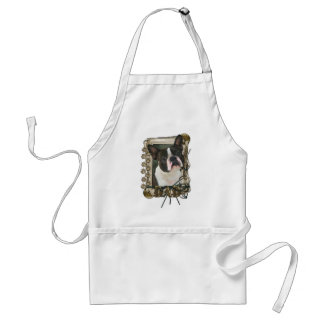 Fathers Day - Stone Paws - Boston Terrier - Dad Adult Apron