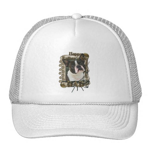 Fathers Day - Stone Paws - Boston Terrier - Dad Trucker Hat