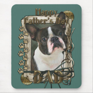 Fathers Day - Stone Paws - Boston Terrier - Dad Mouse Pad