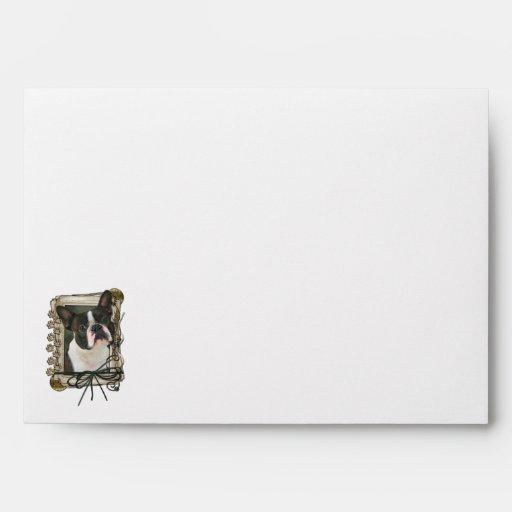 Fathers Day - Stone Paws - Boston Terrier Envelopes