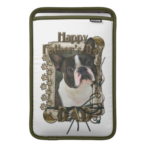 Fathers Day - Stone Paws - Boston Terrier MacBook Sleeves