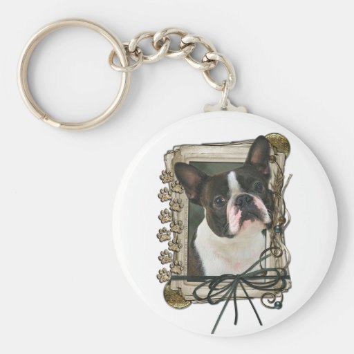 Fathers Day - Stone Paws - Boston Terrier Keychain