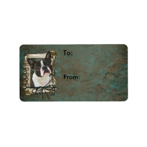 Fathers Day - Stone Paws - Boston Terrier Personalized Address Labels