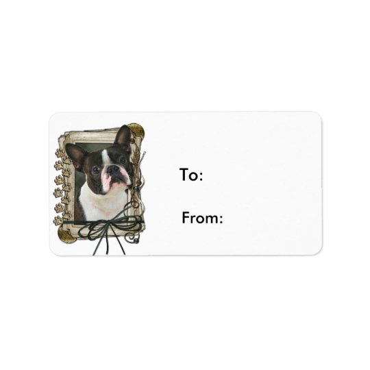 Fathers Day - Stone Paws - Boston Terrier Label