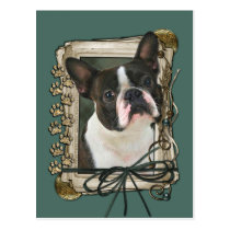 Fathers Day - Stone Paws - Boston Terrier Postcard