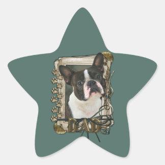 Fathers Day - Stone Paws - Boston Terrier Star Sticker