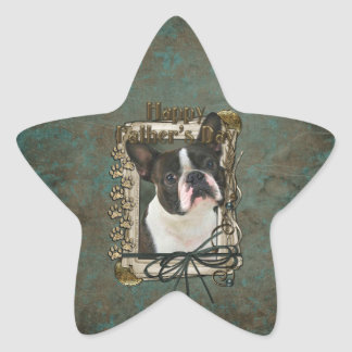 Fathers Day - Stone Paws - Boston Terrier Star Sticker