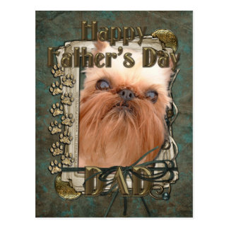 Fathers Day - Stone Paws - Brussels Griffon Postcard