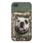 Fathers Day - Stone Paws - Bulldog - Dad iPhone 4/4S Cover