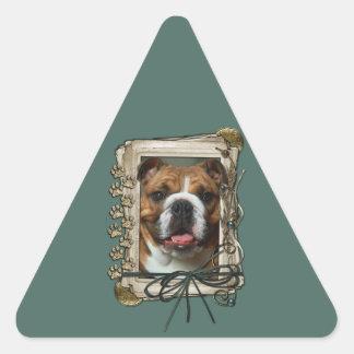 Fathers Day - Stone Paws - Bulldog - Dark Triangle Sticker