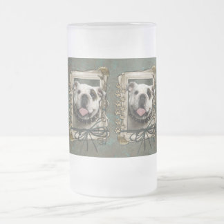 Fathers Day - Stone Paws - Bulldog Frosted Glass Beer Mug