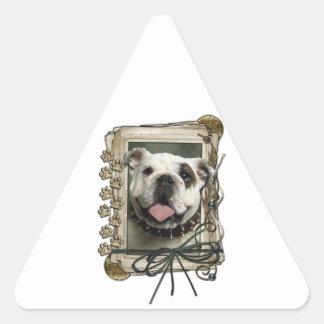 Fathers Day - Stone Paws - Bulldog - Light Triangle Sticker