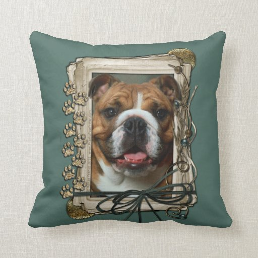 Fathers Day - Stone Paws - Bulldog Throw Pillow