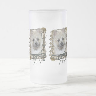 Fathers Day - Stone Paws - Cairn - Teddy Bear Frosted Glass Beer Mug