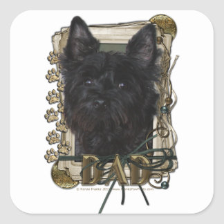 Fathers Day - Stone Paws - Cairn Terrier - Rosco Square Sticker