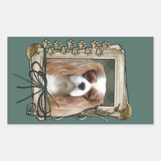 Fathers Day - Stone Paws - Cavalier - Blenheim Rectangular Sticker
